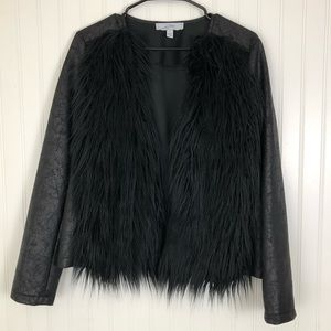 Libby Edelman Large Black faux fur jacket